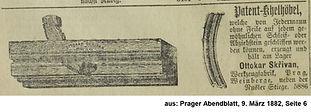 Skrivan Anzeige Patenthobel März 1882