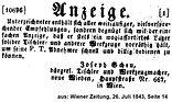 Josef Scheu Anzeige 1843