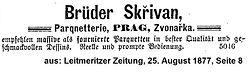 Skrivan Anzeige Parquett 1877