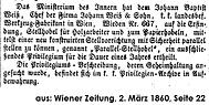 Privilegiumsveröffentlichung Wiener Zeitung, 2. März 1860