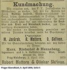 Skrivan Patent Javurek 1896