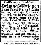 Skrivan Anzeige Heizungsanlage 1894