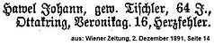Hawel Johann Todesanzeige 1891