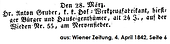Todesanzeige Anton Gruber 1842