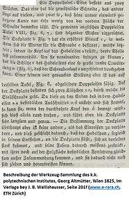 Doppeleisen Beschreibung Altmütter 1825