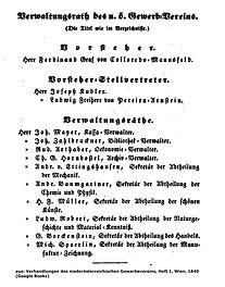 Verwaltungsrat des niederösterreichischen Gewerbevereins 1840