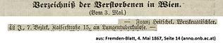 1867 Todesanzeige Franz Heitschel