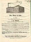 Weiss & Sohn, Preiscourant 1870, Rückseite