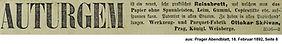 Skrivan Anzeige Reissbrett 1892