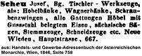 Josef Scheu Adressbuch 1846