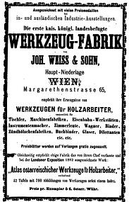 Inserat Weiß & Sohn 1867