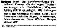 Josef Scheu Adressbuch 1845