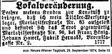 Hawel Johann Anzeige 1874