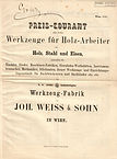 Weiss & Sohn, Preiscourant 1870, Titelseite