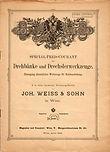 Weiss & Sohn Preiscourant Drechsler 1896