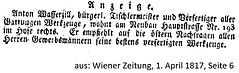 Wasserzill Anton Anzeige Wiener Zeitung 1817