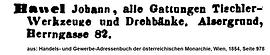 Hawel Johann Adressbuch 1854