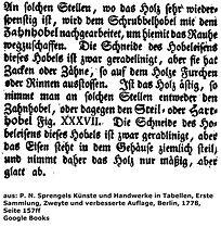 Sprengel, Zahnhobel, 1778