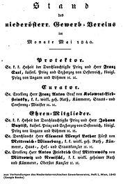 Stand des niederösterreichischen Gewerbevereins 1840