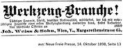 Weiß & Sohn Stellenanzeige 1898