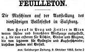Johann Horak Salzburger Zeitung 1865