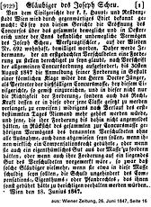 Josef Scheu Konkurs 1847