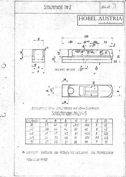 02 Schlichthobel Originalzeichnung Weiss & Sohn, 1949