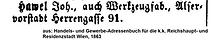 Hawel Johann Adressbucheintrag 1863