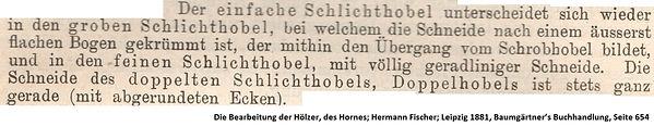 Schlichthobel bei Fischer 1891