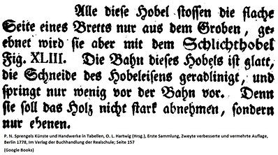 Schlichthobel bei Sprengel, 1778