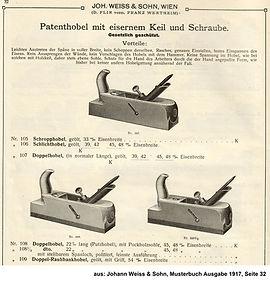 Weiss & Sohn, Patenthobel mit eisernem Keil, 1917