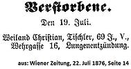 Christian Weiland Todesanzeige 1876