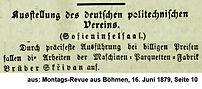 Skrivan Ausstellung 1879