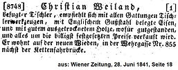 Christian Weiland, Anzeige, Wiener Zeitung, 1841