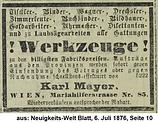 Mayer Karl Anzeige 1875