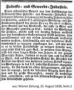 Bericht Sammlungsankauf Gruber 1838