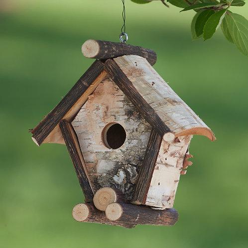 Short A-Frame Birch Birdhouse