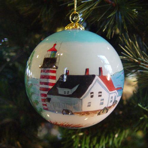 West Quoddy Head Light Glass Ornament