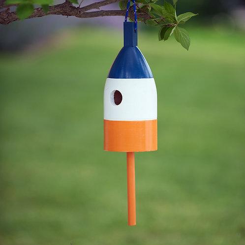 Blue/White/Orange Buoy Birdhouse