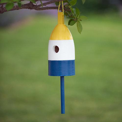 Yellow/White/Blue Buoy Birdhouse