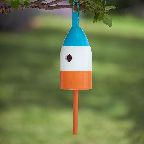 Cyan/White/Orange Buoy Birdhouse