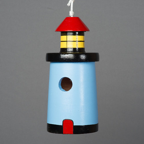 Light Blue Lighthouse Birdhouse