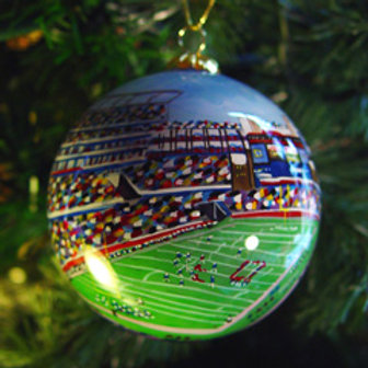 New England Football Glass Ornament