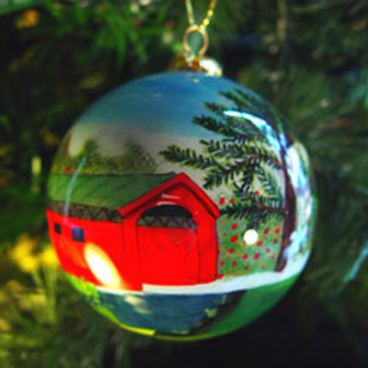 Covered Bridge Glass Ornament
