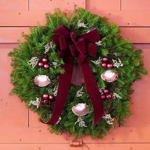 Maine Balsam Scallop Shell Wreath