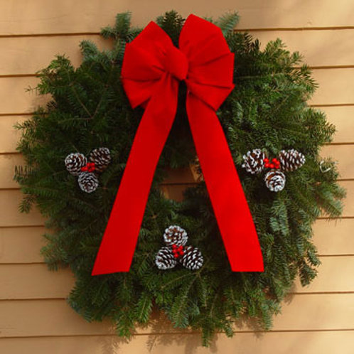 Maine Balsam Traditional Red Bow Wreath