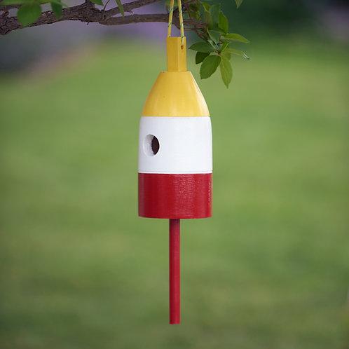 Yellow/White/Red Buoy Birdhouse