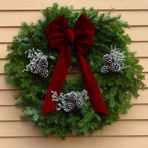 Maine Balsam Burgundy Bow Wreath