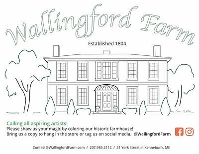 Coloring page showing Wallingford's farmhouse