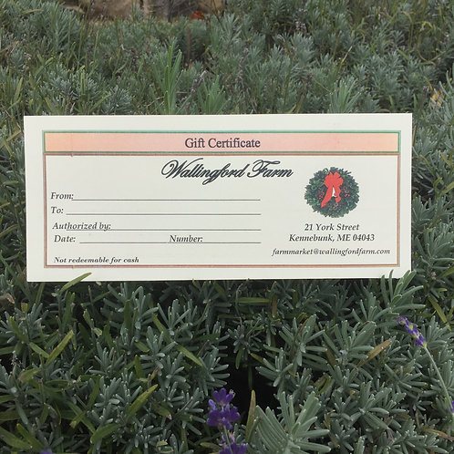 Farm Store Gift Certificate